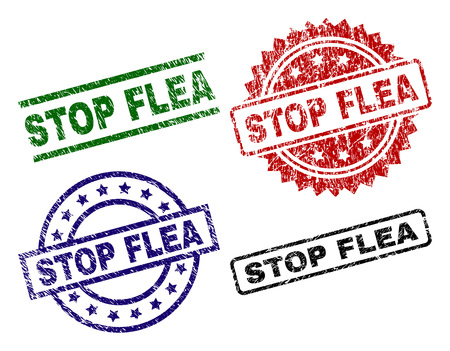 STOP FLEA seal prints with distress texture. Black, green,red,blue vector rubber prints of STOP FLEA label with scratched texture. Rubber seals with circle, rectangle, rosette shapes.