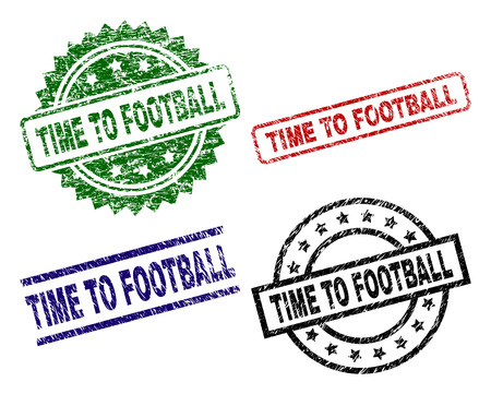 TIME TO FOOTBALL seal prints with corroded style. Black, green,red,blue vector rubber prints of TIME TO FOOTBALL caption with unclean style. Rubber seals with round, rectangle, rosette shapes. Çizim