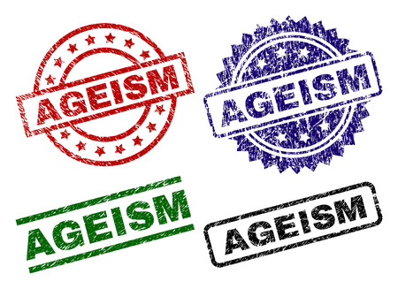AGEISM seal stamps with distress style. Black, green,red,blue vector rubber prints of AGEISM caption with scratched style. Rubber seals with circle, rectangle, medal shapes.