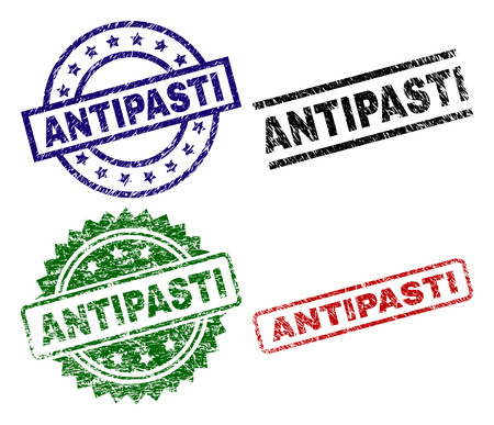 ANTIPASTI seal prints with damaged style. Black, green,red,blue vector rubber prints of ANTIPASTI label with scratched style. Rubber seals with round, rectangle, rosette shapes.