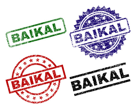 BAIKAL seal prints with distress style. Black, green,red,blue vector rubber prints of BAIKAL text with retro surface. Rubber seals with circle, rectangle, medal shapes.