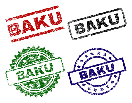 BAKU seal prints with corroded texture. Black, green,red,blue vector rubber prints of BAKU caption with dirty texture. Rubber seals with circle, rectangle, medallion shapes.
