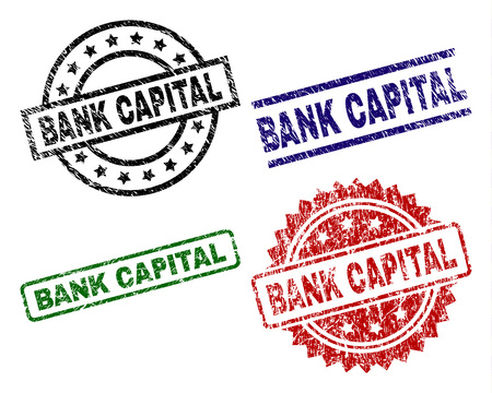 BANK CAPITAL seal prints with damaged texture. Black, green,red,blue vector rubber prints of BANK CAPITAL caption with retro texture. Rubber seals with circle, rectangle, medallion shapes. Illustration