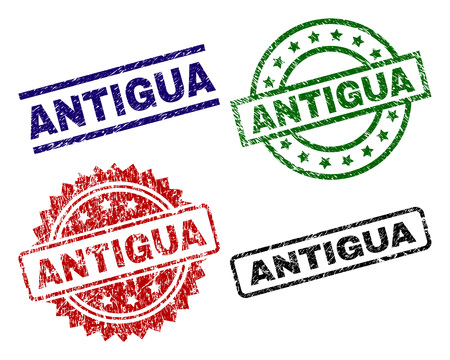 ANTIGUA seal prints with corroded style. Black, green,red,blue vector rubber prints of ANTIGUA text with scratched style. Rubber seals with round, rectangle, rosette shapes. Illustration