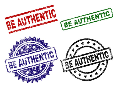 BE AUTHENTIC seal prints with distress surface. Black, green,red,blue vector rubber prints of BE AUTHENTIC tag with dirty surface. Rubber seals with circle, rectangle, rosette shapes.
