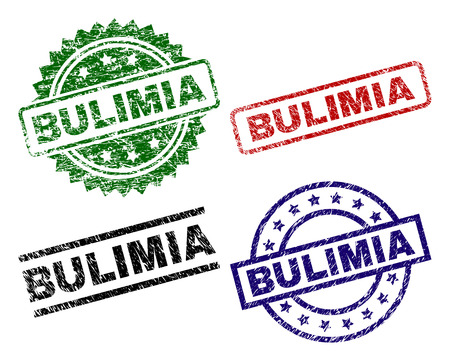 BULIMIA seal prints with corroded style. Black, green,red,blue vector rubber prints of BULIMIA title with scratched style. Rubber seals with round, rectangle, medal shapes.
