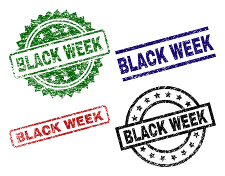BLACK WEEK seal prints with corroded surface. Black, green,red,blue vector rubber prints of BLACK WEEK tag with grunge surface. Rubber seals with circle, rectangle, medallion shapes. Illustration