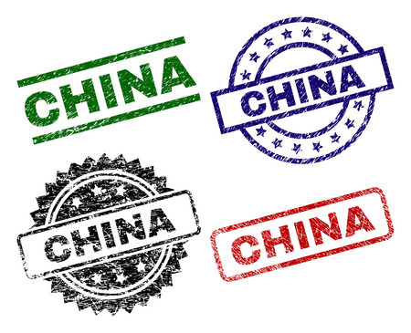 CHINA seal prints with corroded texture. Black, green,red,blue vector rubber prints of CHINA text with retro texture. Rubber seals with round, rectangle, medallion shapes.