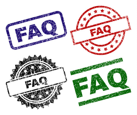 FAQ seal imprints with corroded surface. Black, green,red,blue vector rubber prints of FAQ caption with corroded surface. Rubber seals with circle, rectangle, medallion shapes.
