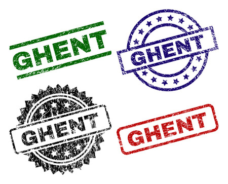 GHENT seal prints with distress surface. Black, green,red,blue vector rubber prints of GHENT text with scratched surface. Rubber seals with circle, rectangle, medallion shapes.