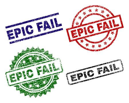 EPIC FAIL seal prints with corroded style. Black, green,red,blue vector rubber prints of EPIC FAIL caption with corroded style. Rubber seals with round, rectangle, medal shapes.