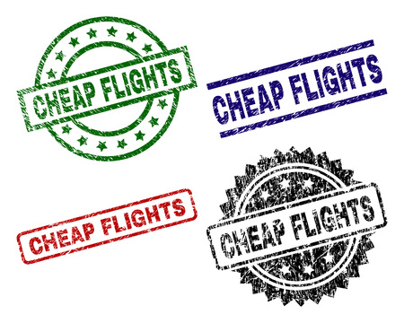 CHEAP FLIGHTS seal imprints with distress texture. Black, green,red,blue vector rubber prints of CHEAP FLIGHTS label with corroded texture. Rubber seals with circle, rectangle, medallion shapes.