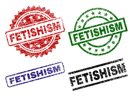 FETISHISM seal prints with damaged surface. Black, green,red,blue vector rubber prints of FETISHISM tag with dirty surface. Rubber seals with circle, rectangle, rosette shapes.