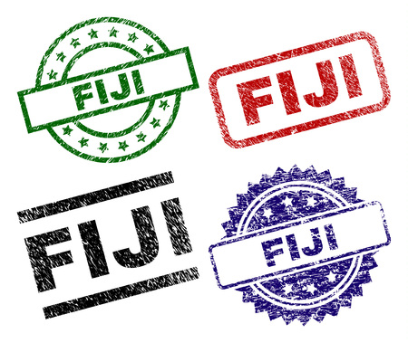 FIJI seal prints with damaged style. Black, green,red,blue vector rubber prints of FIJI text with dirty surface. Rubber seals with circle, rectangle, medal shapes. Illustration