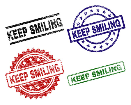 KEEP SMILING seal prints with distress style. Black, green,red,blue vector rubber prints of KEEP SMILING text with dust style. Rubber seals with circle, rectangle, medal shapes. Ilustrace