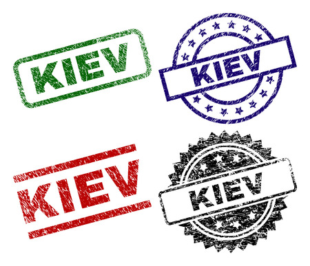 KIEV seal prints with damaged style. Black, green,red,blue vector rubber prints of KIEV text with dust style. Rubber seals with round, rectangle, rosette shapes.