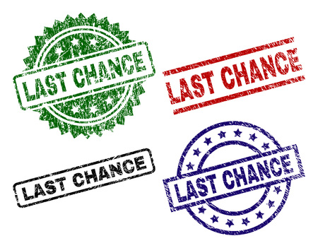 LAST CHANCE seal prints with corroded style. Black, green,red,blue vector rubber prints of LAST CHANCE label with corroded style. Rubber seals with round, rectangle, medallion shapes.