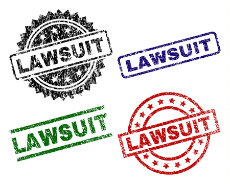 LAWSUIT seal prints with corroded style. Black, green,red,blue vector rubber prints of LAWSUIT label with dust texture. Rubber seals with circle, rectangle, medallion shapes.