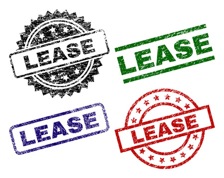 LEASE seal prints with damaged surface. Black, green,red,blue vector rubber prints of LEASE tag with unclean surface. Rubber seals with circle, rectangle, rosette shapes.
