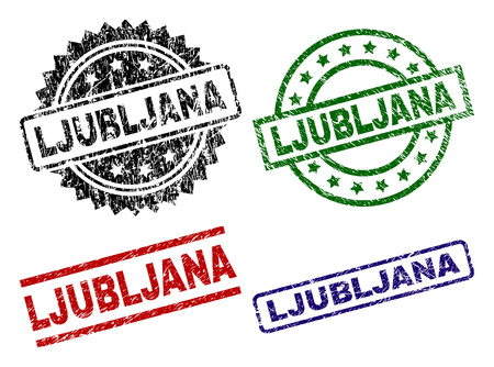 LJUBLJANA seal prints with distress style. Black, green,red,blue vector rubber prints of LJUBLJANA title with retro style. Rubber seals with circle, rectangle, rosette shapes. Illustration