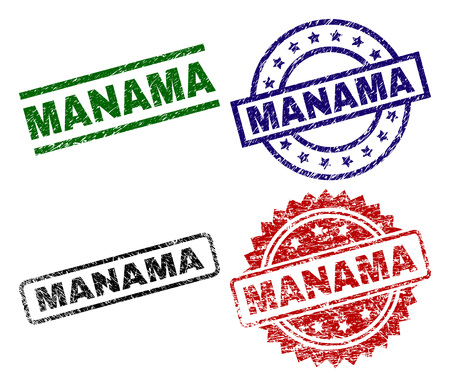 MANAMA seal prints with distress texture. Black, green,red,blue vector rubber prints of MANAMA label with corroded texture. Rubber seals with round, rectangle, rosette shapes. Illustration