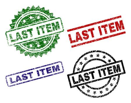 LETZTER ARTIKEL Siegeldrucke mit beschädigtem Stil. Schwarze, grüne, rote, blaue Vektorgummidrucke des LAST ITEM-Etiketts im Grunge-Stil. Gummidichtungen mit runden, rechteckigen, Rosettenformen. Vektorgrafik