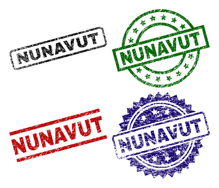 NUNAVUT seal prints with corroded surface. Black, green,red,blue vector rubber prints of NUNAVUT caption with grunge surface. Rubber seals with round, rectangle, medallion shapes.