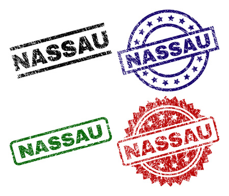 NASSAU seal prints with damaged surface. Black, green,red,blue vector rubber prints of NASSAU caption with scratched surface. Rubber seals with round, rectangle, medal shapes. Illustration