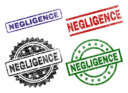 NEGLIGENCE seal stamps with damaged surface. Black, green,red,blue vector rubber prints of NEGLIGENCE label with grunge surface. Rubber seals with round, rectangle, rosette shapes. Stock Vector - 110109417