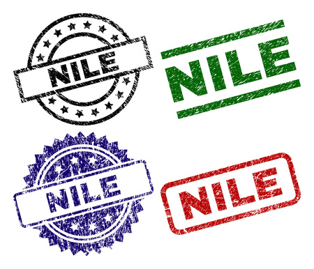 NILE seal imprints with corroded surface. Black, green,red,blue vector rubber prints of NILE label with corroded surface. Rubber seals with circle, rectangle, medal shapes.