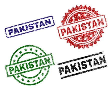 PAKISTAN seal stamps with distress surface. Black, green,red,blue vector rubber prints of PAKISTAN title with retro surface. Rubber seals with round, rectangle, medal shapes. Illustration