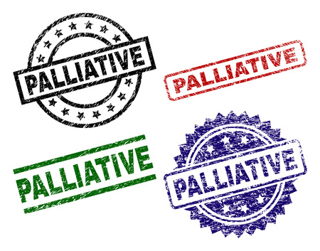 PALLIATIVE seal prints with damaged style. Black, green,red,blue vector rubber prints of PALLIATIVE title with grunge style. Rubber seals with circle, rectangle, rosette shapes.