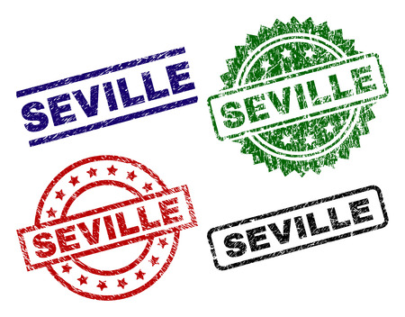 SEVILLE seal prints with distress surface. Black, green,red,blue vector rubber prints of SEVILLE tag with retro texture. Rubber seals with round, rectangle, rosette shapes.