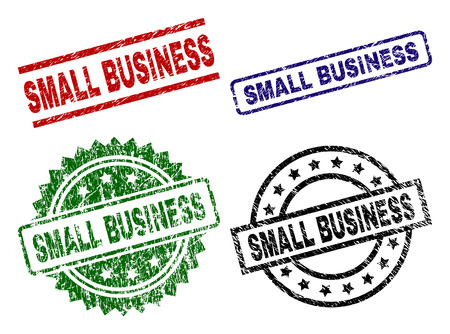 SMALL BUSINESS seal prints with distress style. Black, green,red,blue vector rubber prints of SMALL BUSINESS label with dust surface. Rubber seals with round, rectangle, rosette shapes.