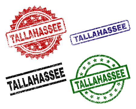 TALLAHASSEE seal prints with damaged texture. Black, green,red,blue vector rubber prints of TALLAHASSEE text with corroded texture. Rubber seals with circle, rectangle, medal shapes.