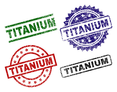 TITANIUM seal prints with distress texture. Black, green,red,blue vector rubber prints of TITANIUM caption with scratched texture. Rubber seals with round, rectangle, medal shapes.