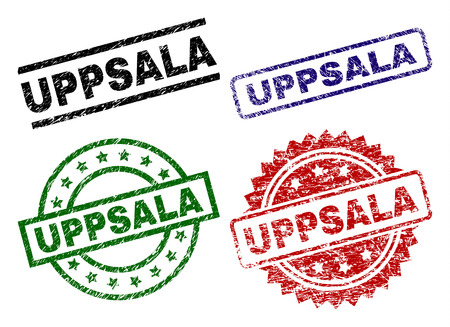 UPPSALA seal prints with corroded surface. Black, green,red,blue vector rubber prints of UPPSALA title with dust surface. Rubber seals with circle, rectangle, rosette shapes. Illustration