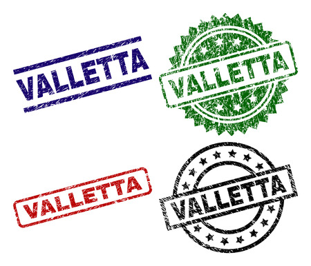 VALLETTA seal prints with damaged texture. Black, green,red,blue vector rubber prints of VALLETTA text with grunge texture. Rubber seals with circle, rectangle, medallion shapes.