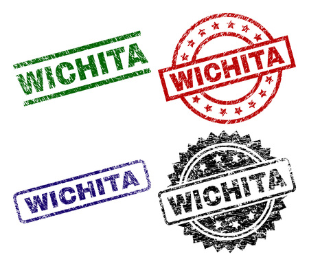WICHITA seal prints with distress texture. Black, green,red,blue vector rubber prints of WICHITA title with scratched texture. Rubber seals with round, rectangle, medal shapes.