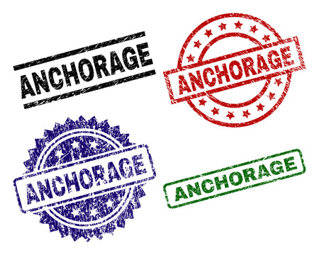 ANCHORAGE seal prints with damaged texture. Black, green,red,blue vector rubber prints of ANCHORAGE label with retro texture. Rubber seals with circle, rectangle, medallion shapes.
