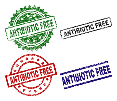 ANTIBIOTIC FREE seal prints with corroded texture. Black, green,red,blue vector rubber prints of ANTIBIOTIC FREE label with grunge texture. Rubber seals with round, rectangle, medal shapes. Vektorové ilustrace