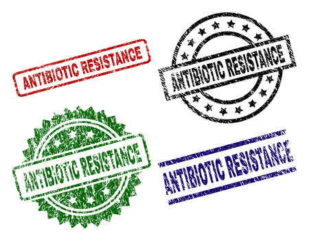 ANTIBIOTIC RESISTANCE seal prints with damaged style. Black, green,red,blue vector rubber prints of ANTIBIOTIC RESISTANCE text with corroded style. Rubber seals with circle, rectangle, medal shapes.