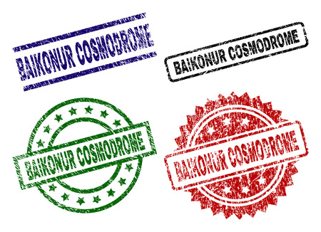 BAIKONUR COSMODROME seal prints with corroded style. Black, green,red,blue vector rubber prints of BAIKONUR COSMODROME title with scratched style. Rubber seals with circle, rectangle, rosette shapes.