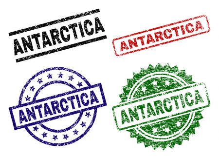 ANTARCTICA seal prints with corroded style. Black, green,red,blue vector rubber prints of ANTARCTICA text with dirty style. Rubber seals with round, rectangle, rosette shapes.