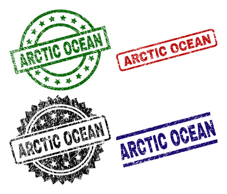 ARCTIC OCEAN seal prints with distress style. Black, green,red,blue vector rubber prints of ARCTIC OCEAN text with unclean style. Rubber seals with circle, rectangle, medal shapes.