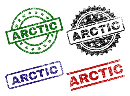 ARCTIC seal prints with corroded surface. Black, green,red,blue vector rubber prints of ARCTIC label with corroded style. Rubber seals with circle, rectangle, rosette shapes.