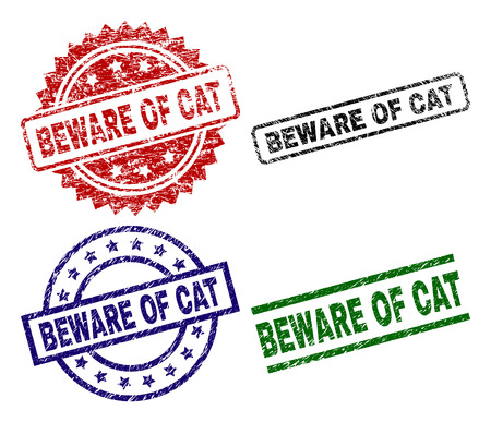 BEWARE OF CAT seal prints with damaged style. Black, green,red,blue vector rubber prints of BEWARE OF CAT text with retro style. Rubber seals with circle, rectangle, medallion shapes.  イラスト・ベクター素材