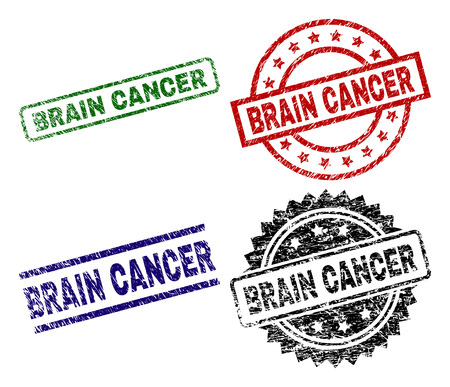 BRAIN CANCER seal prints with distress texture. Black, green,red,blue vector rubber prints of BRAIN CANCER text with corroded surface. Rubber seals with round, rectangle, medal shapes.