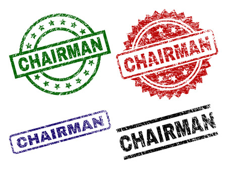 CHAIRMAN seal prints with distress texture. Black, green,red,blue vector rubber prints of CHAIRMAN caption with dirty texture. Rubber seals with circle, rectangle, rosette shapes. Illustration