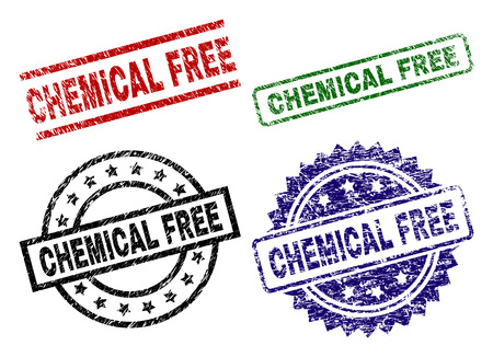 CHEMICAL FREE seal imprints with distress surface. Black, green,red,blue vector rubber prints of CHEMICAL FREE tag with unclean surface. Rubber seals with round, rectangle, medallion shapes.
